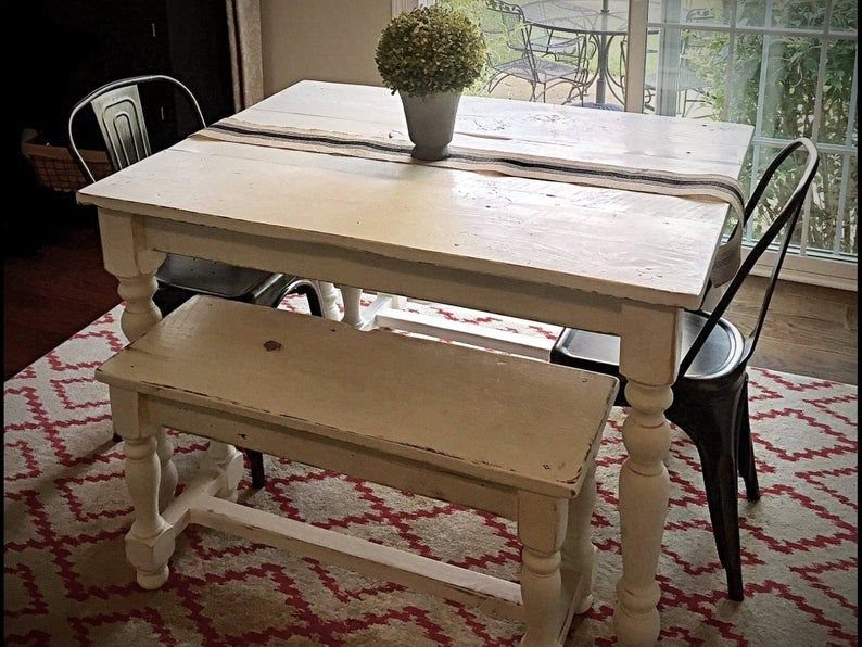 The Petite Farmhouse Table Handmade with Reclaimed Barn