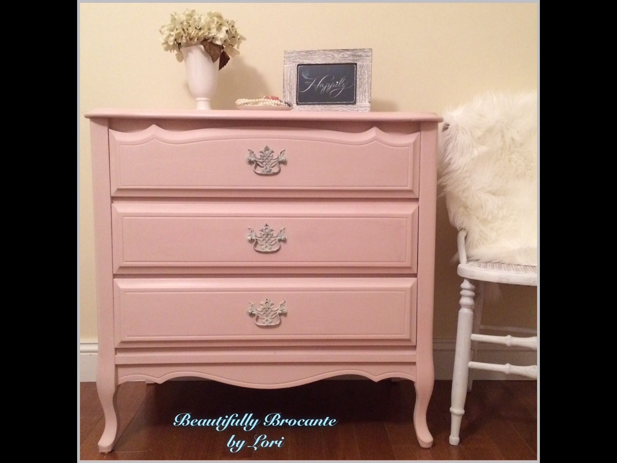Pretty in Pink French Dresser/chalk paint/Rustoleum Blush Pink