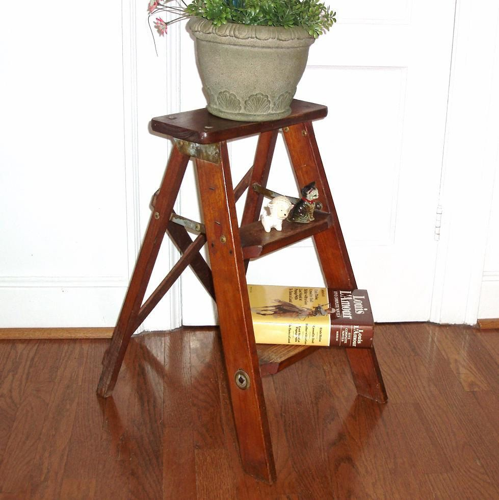 Vintage Folding Step Ladder Wooden Step Stool Wood Side