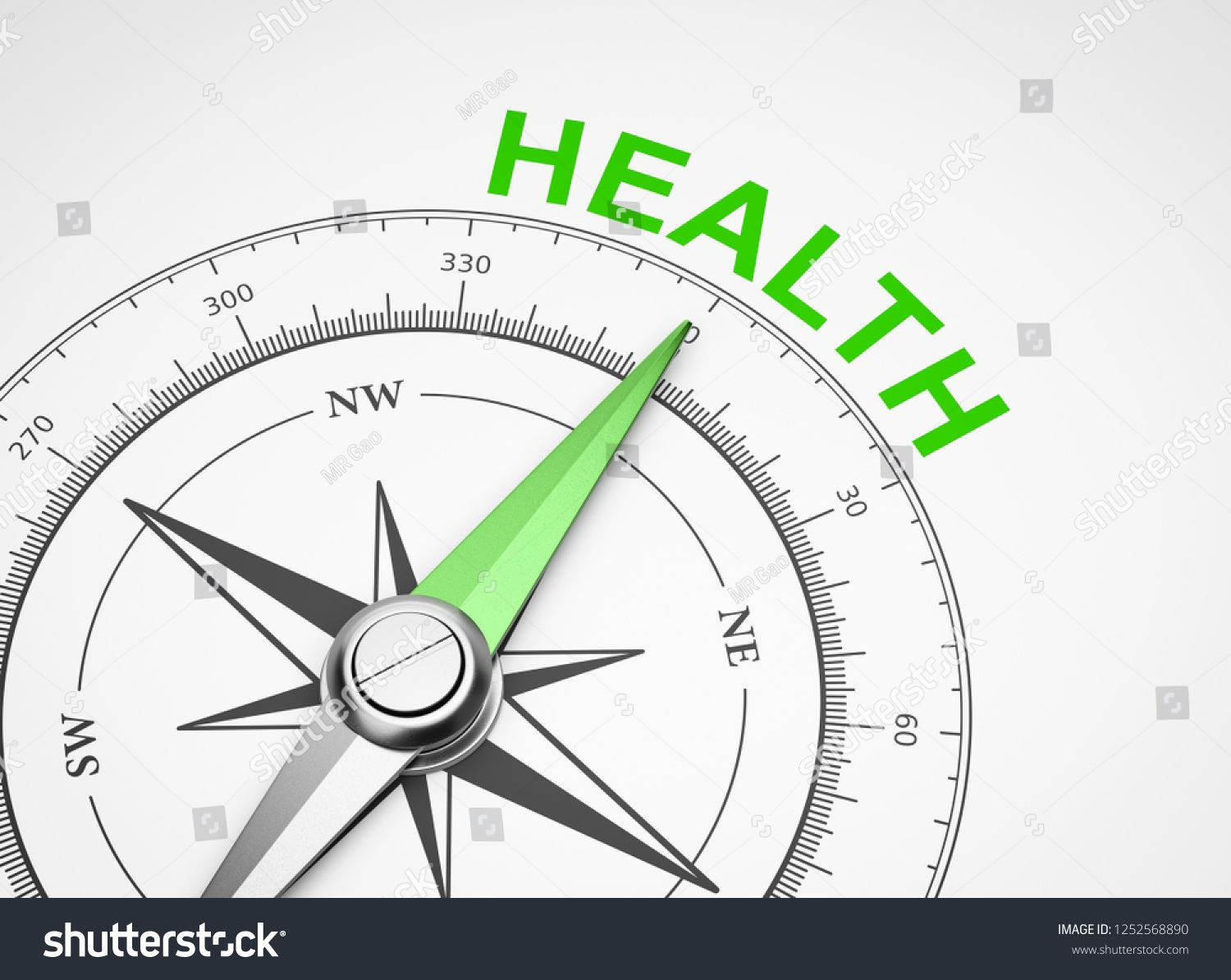 Magnetic Compass With Needle Pointing Green Health Word On White Background 3d Illustration Pointing Green Needle Magnetic Compass Health Words Compass Needle