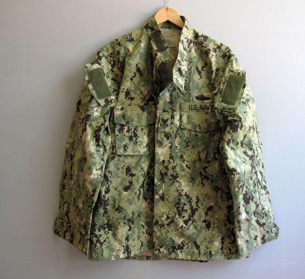 Navy Nwu Type Iii Aor2 Combat Blouse Jacket Shirt Camo Camouflage Large Long Military Navyseals Camouflage Father Shirt Jacket Work Uniforms Combat Jacket