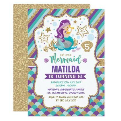 #Mermaid Birthday Invitation Under the Sea Party - #birthday #invitations