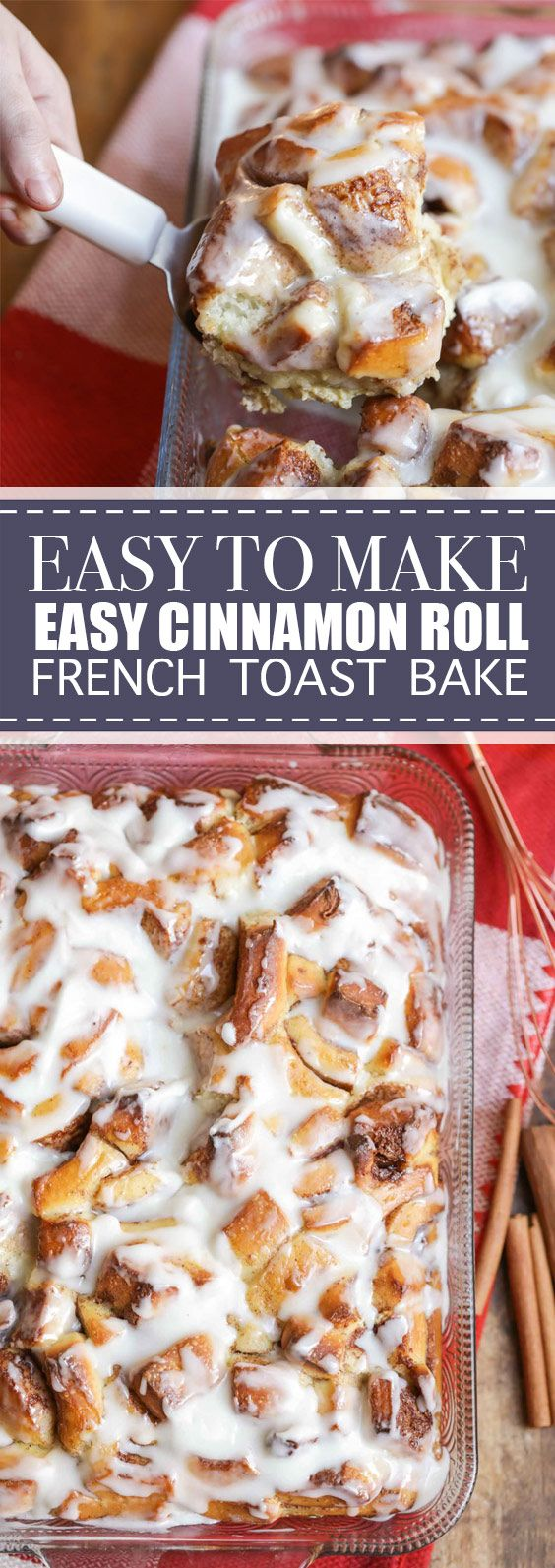 Easy Cinnamon Roll French Toast Bake | This overnight Cinnamon Roll French Toast Bake gives you all the ooey gooey goodness of warm cinnamon rolls, with the ease of an overnight breakfast casserole. It's the perfect breakfast or brunch item during the holidays! #cinnamonroll #frenchtoast #bake | delicioushealthy.club #cinnamonrollturkey