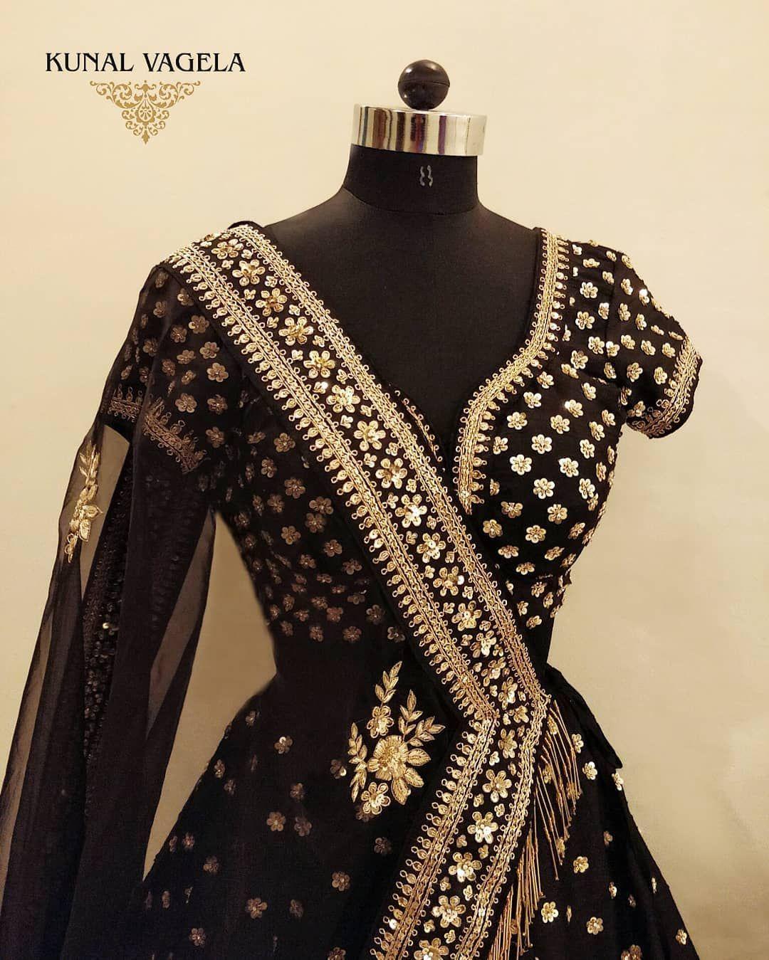 Black gold bridal lehenga. Frugal2Fab Buy designer Bridal