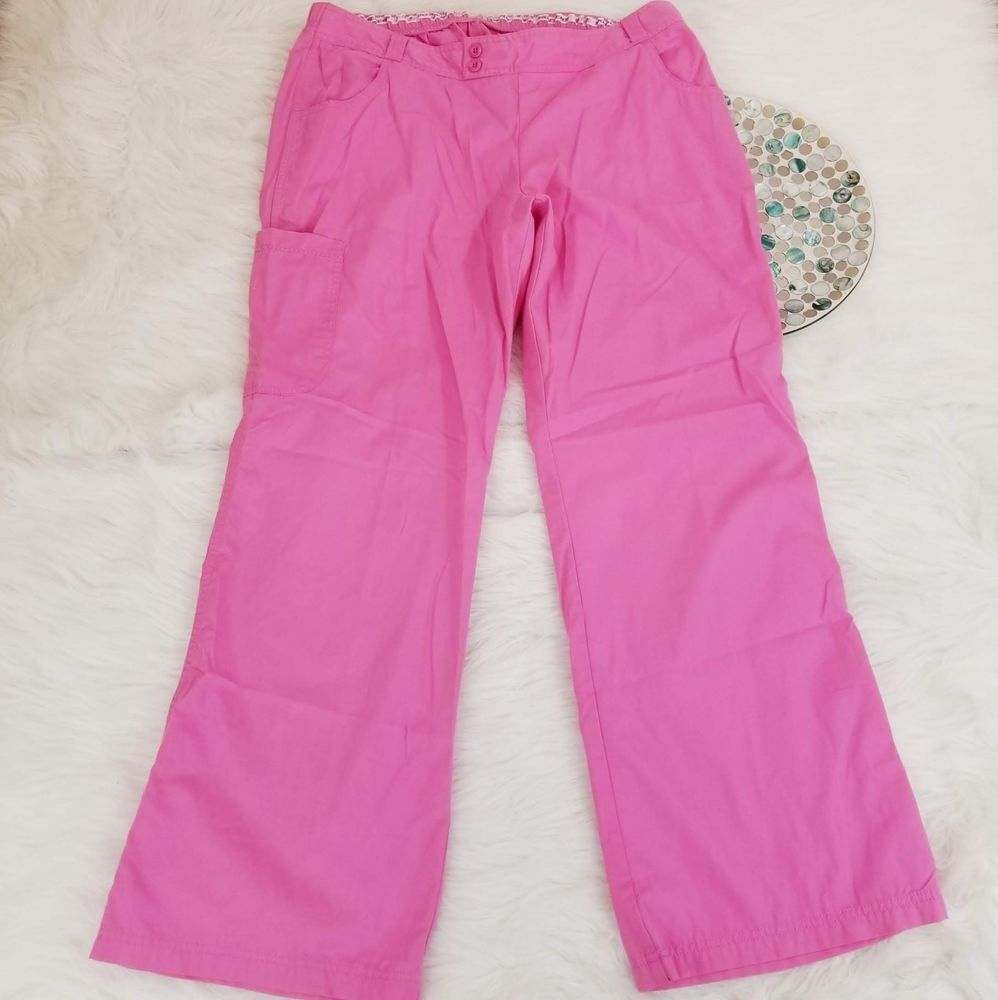 9d5645f1c6e Sketchers Womens Scrub Pants Size Large Pink Wide Leg Side Pockets o1388 # Skechers