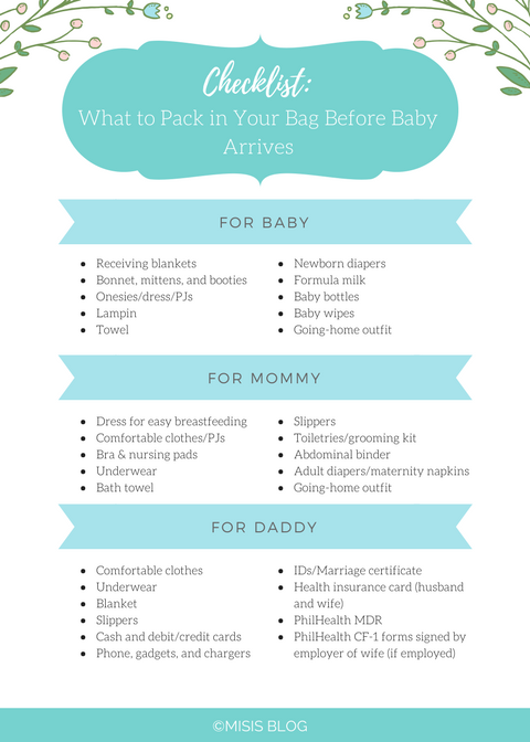 Infographic Checklist What To Pack In Your Hospital Bag Baby