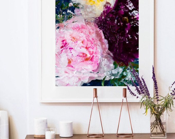 Floral Print, Peony Art, Living Room Decor, Magenta art by Jessica ...