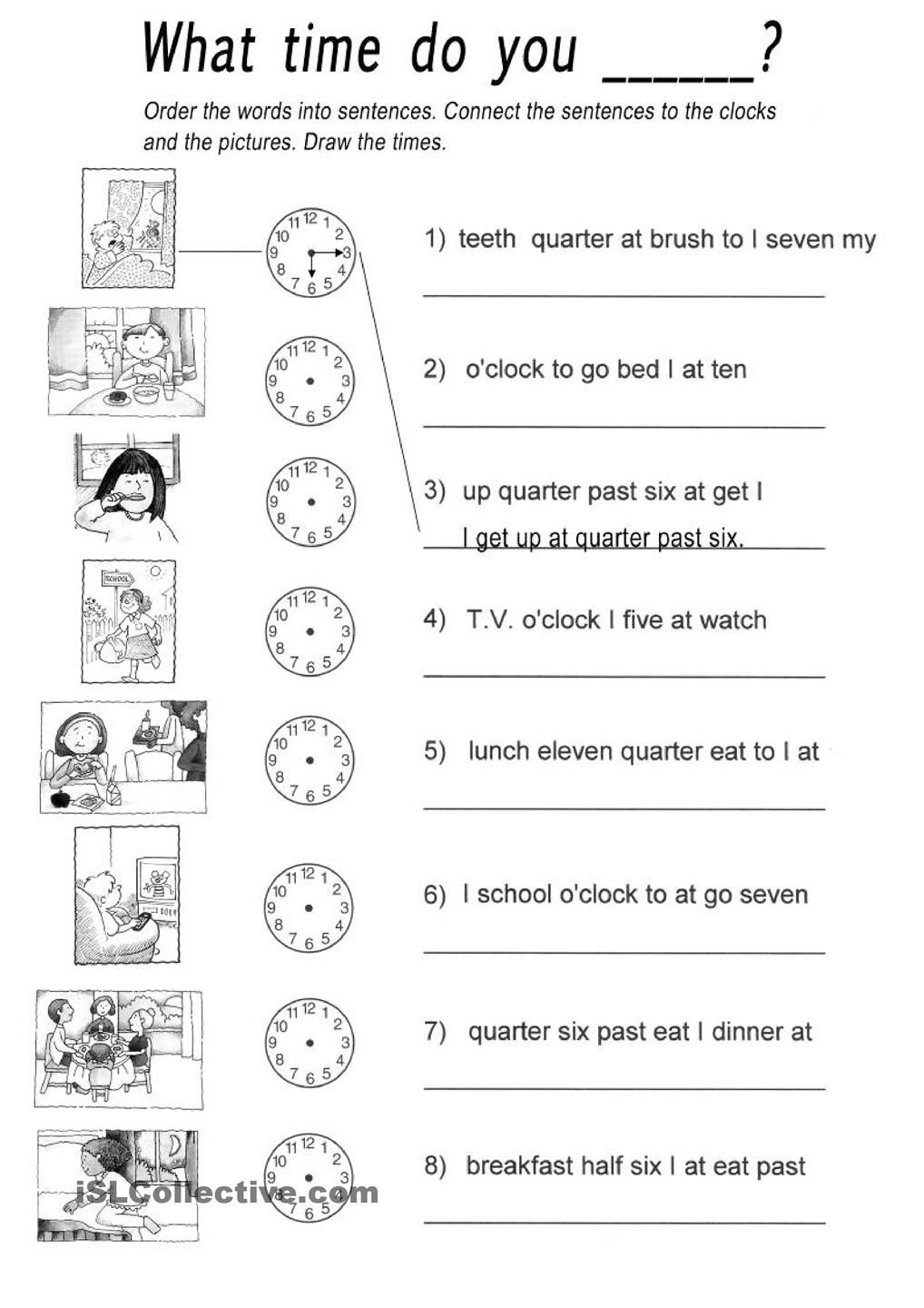 DAILY ROUTINES and TELLING TIME: Rearrange the words to form a ...