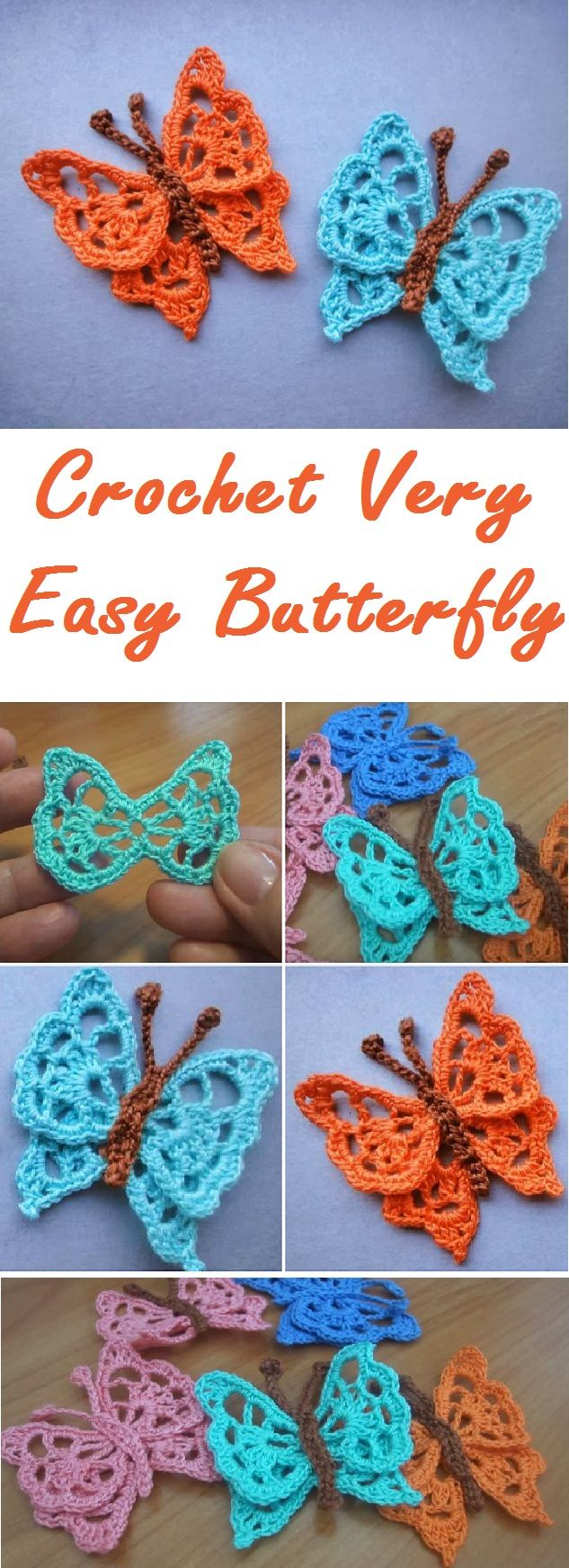 Crochet very easy butterfly step by step | Crochet | Pinterest ...