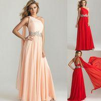 49a56c76b Vestido de fiesta para mujeres embarazadas elegante dama de honor vestidos  largos de la gasa vestido de un hombro diamante rojo rosa largo sash un  hombro