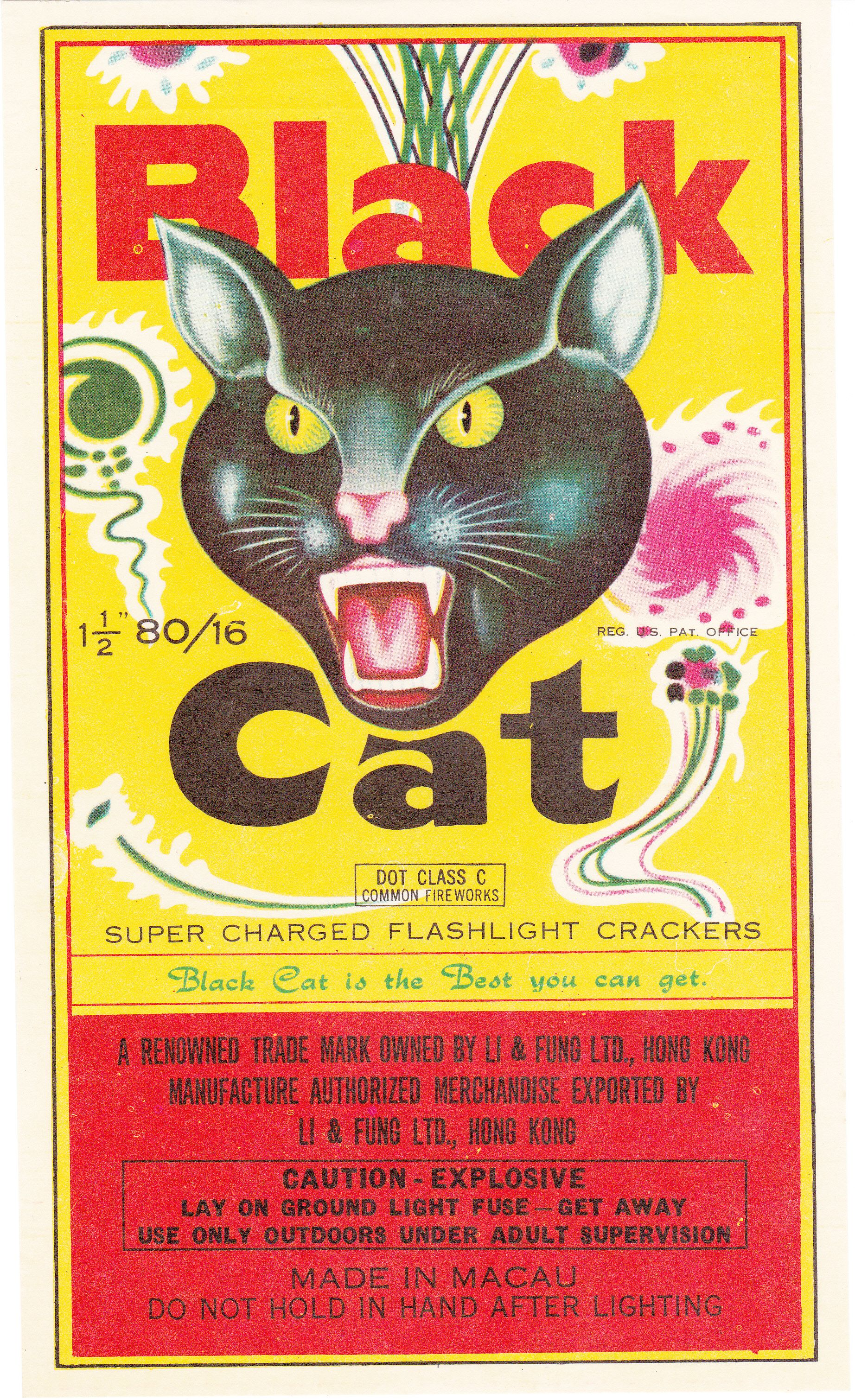 Black Cat Firecracker Label (With images) Black cat