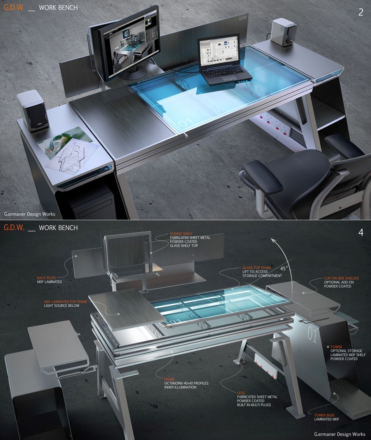 Modern work bench 1t presantation drawing draft - Interiors by design computer desk ...