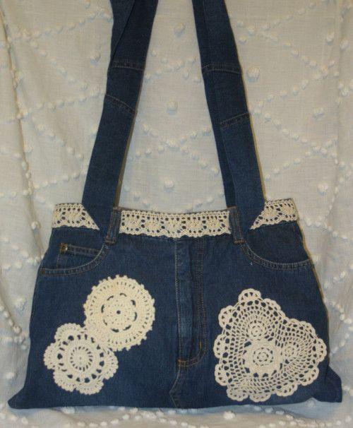 Ploomer Blue Denim Jean Bag Crocheted Doilies Handbag Purse