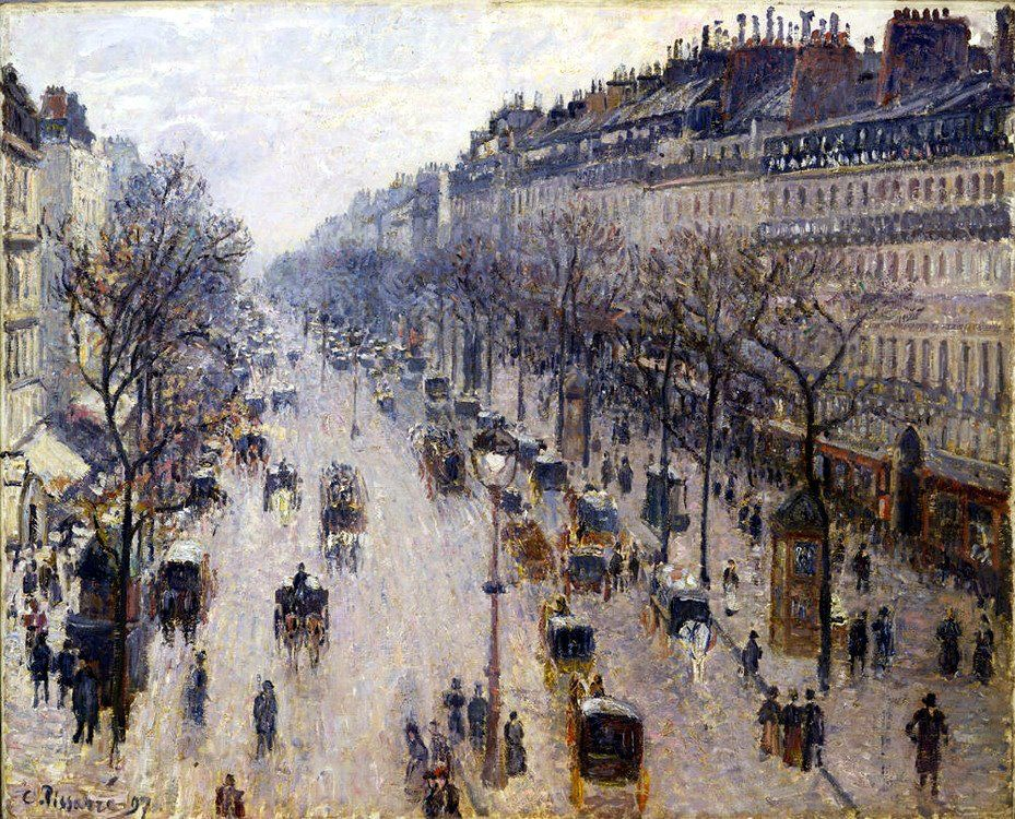Pissarro, Boulevard Montmartre in una mattina d'inverno, 1897