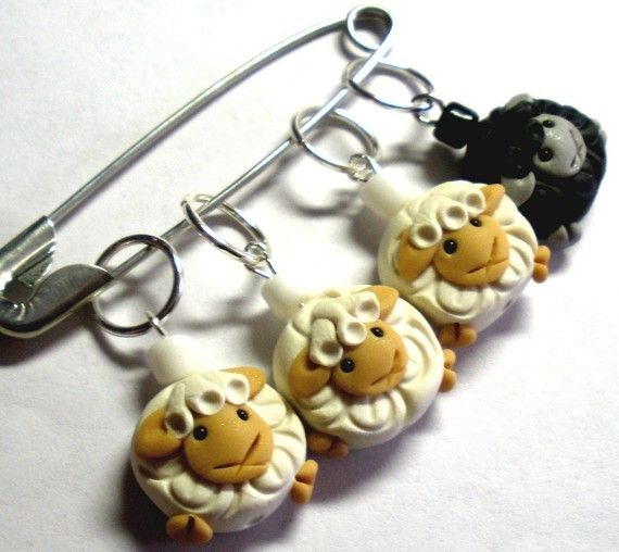 Stitch Markers  Sheep Black & White Stitch Markers / by scarymerry, $13.00