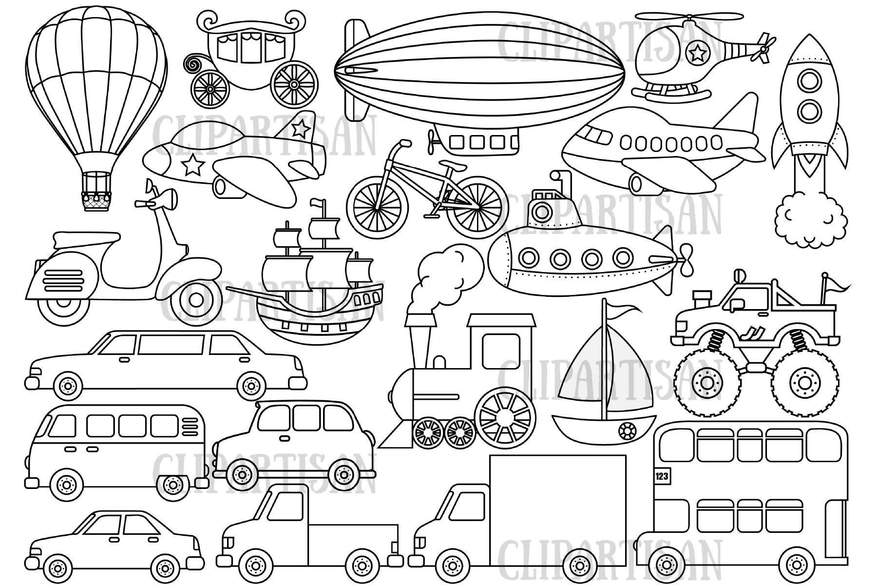 Transportation Vehicles Graphic By Clipartisan Creative Fabrica Clip Art Digital Stamps Art Set