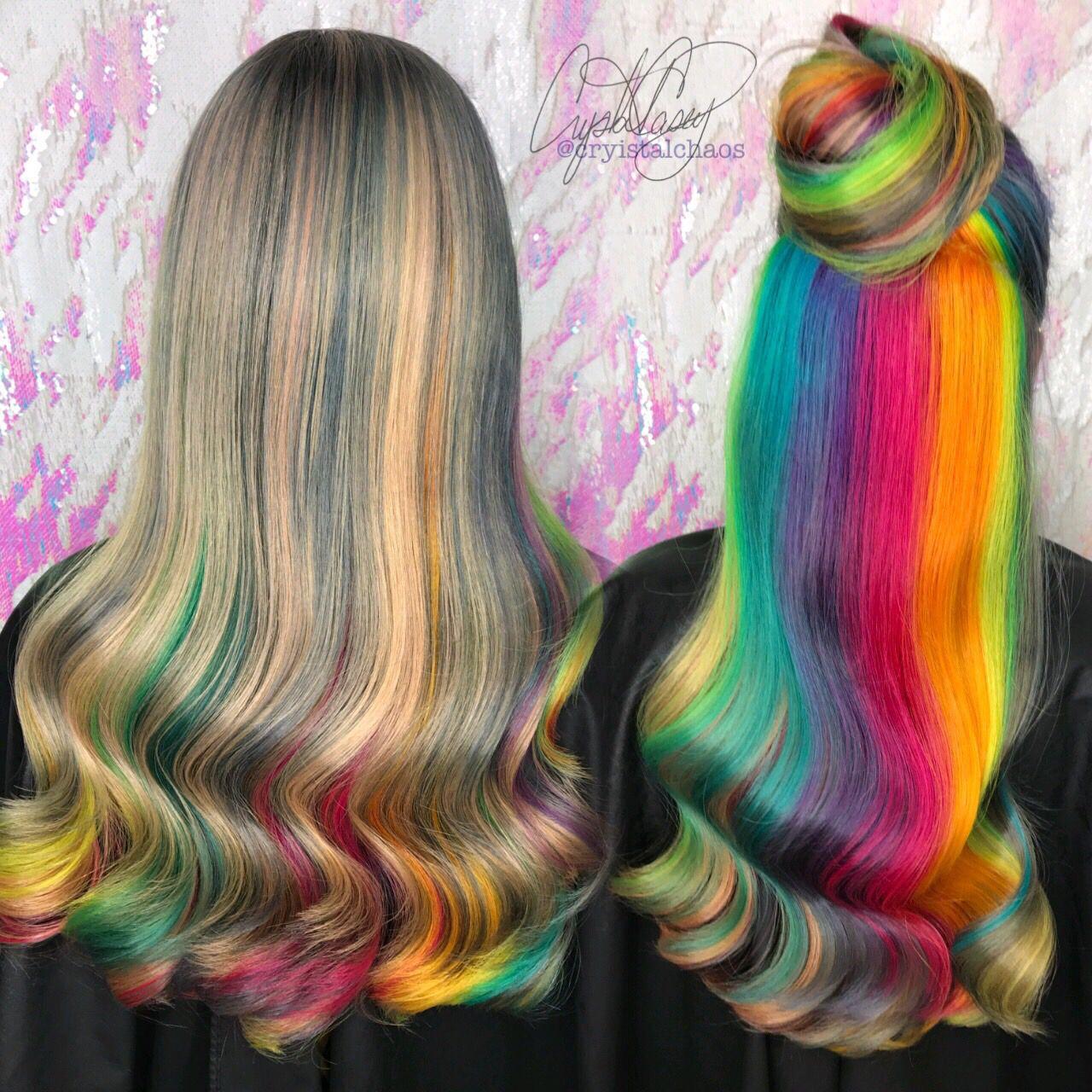 Rainbow hair, Red blonde and Blonde color on Pinterest  |Rainbow Hair Underneath Light