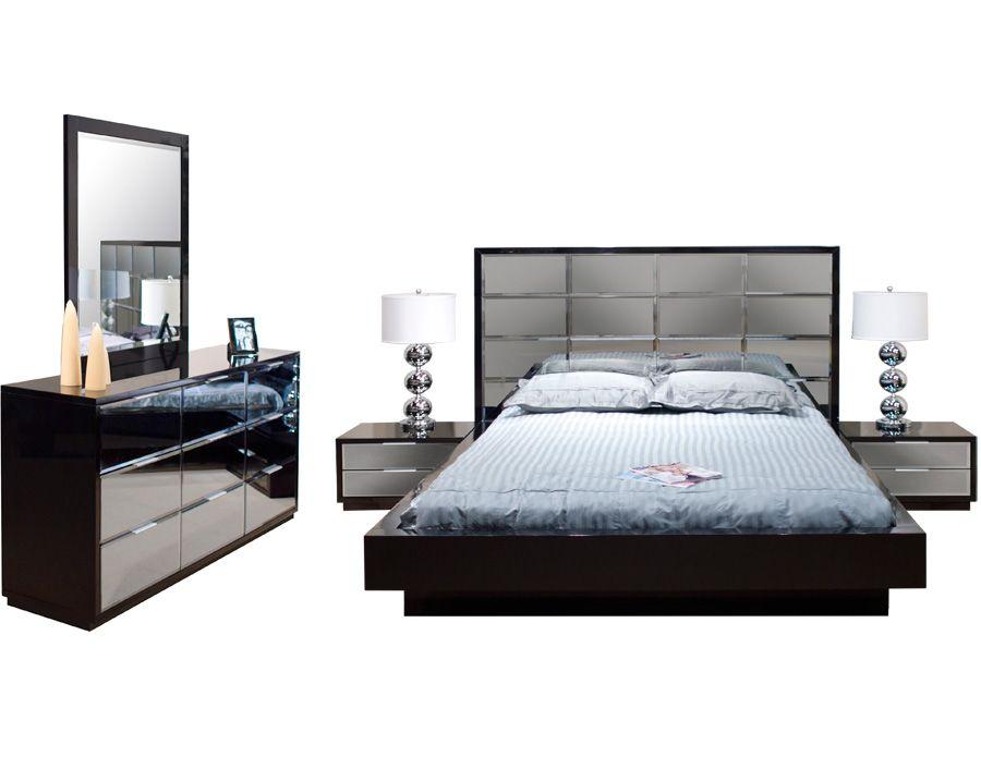 Mera Black Lacquer Bedroom Set Platform Bed Sets Mirrored Bedroom Furniture Platform Bed