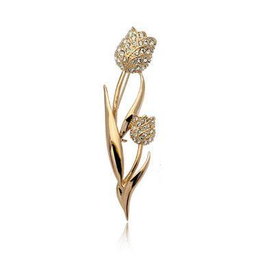 Austrian Crystal Tulip Flower Brooch – US$ 7.99