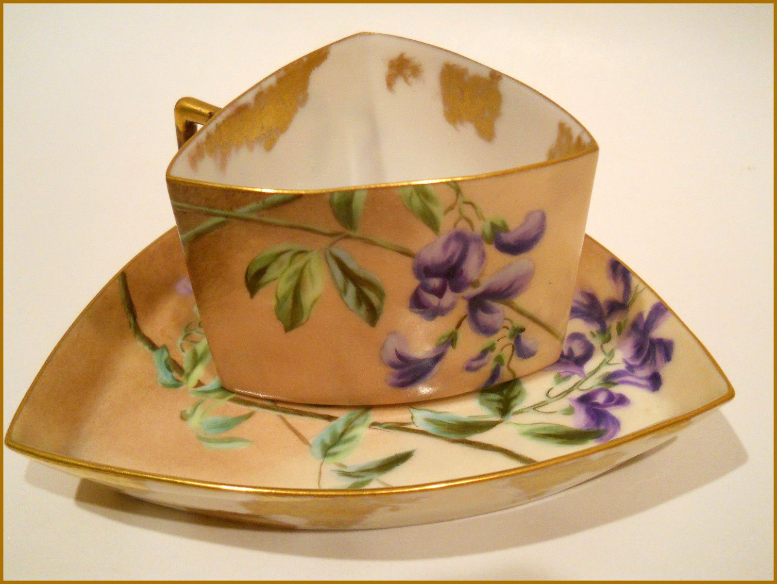 Antique Pouyat Limoges Porcelain Triangle Cup Saucer Purple  Florals/butterfly