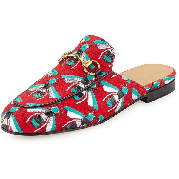 552f40c2b Gucci Princetown Jacquard Horsebit Mule Slipper Flat ($595) ❤ liked on Polyvore  featuring shoes, flats, red, sports shoes, gucci footwear, gucci flats, ...