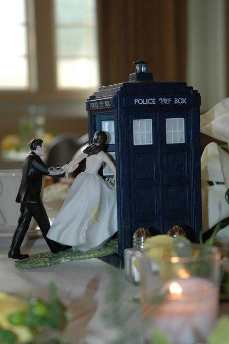 TARDIS wedding cake topper.