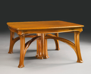 Louis Majorelle Dining Table in Walnut with three