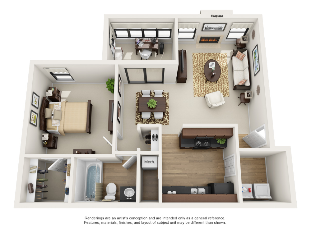 One and Two Bedroom Apartment Floor Plans | Rosemont at East Cobb   #apartment #steadfast #marietta #georgia #apartmentfloorplans