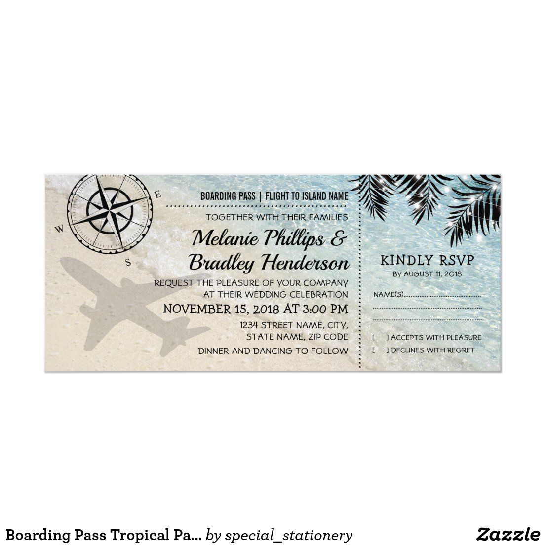 Boarding Pass Tropical Paradise Beach Wedding Invitation
