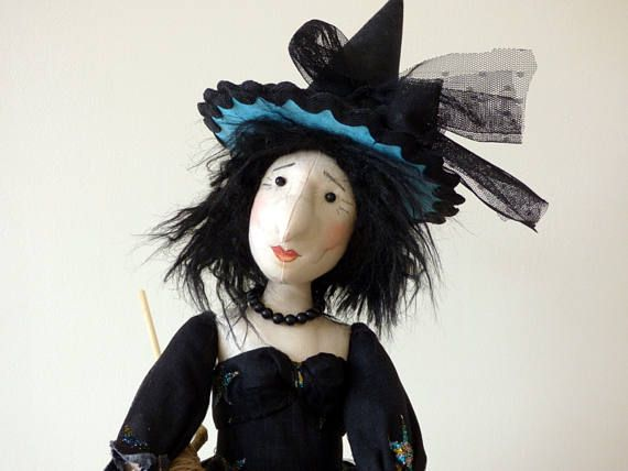 Witch Art Doll, Fabric Witch, Textile Art Doll, Halloween Witch - witch decorations