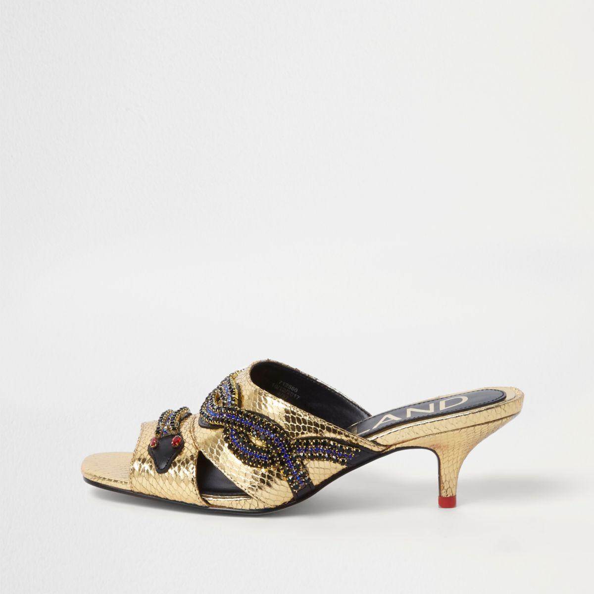 Gold Snake Embellished Kitten Heel Mules Boot Shoes Women Shoe Boots Metallic Gold Shoes