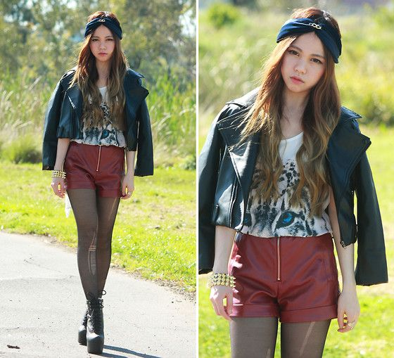Sheinside Faux Leather Jacket, Sheinside Faux Leather Shorts, Romwe Tiger Top, Little Fillie Turband