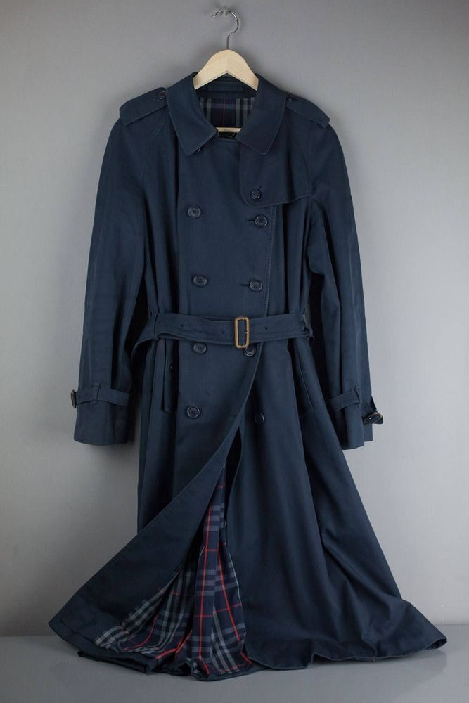 Mac Ladies Blue Raincoat Coat 8 Vintage Size Womens Trench Navy Burberry Genuine qwIPt7