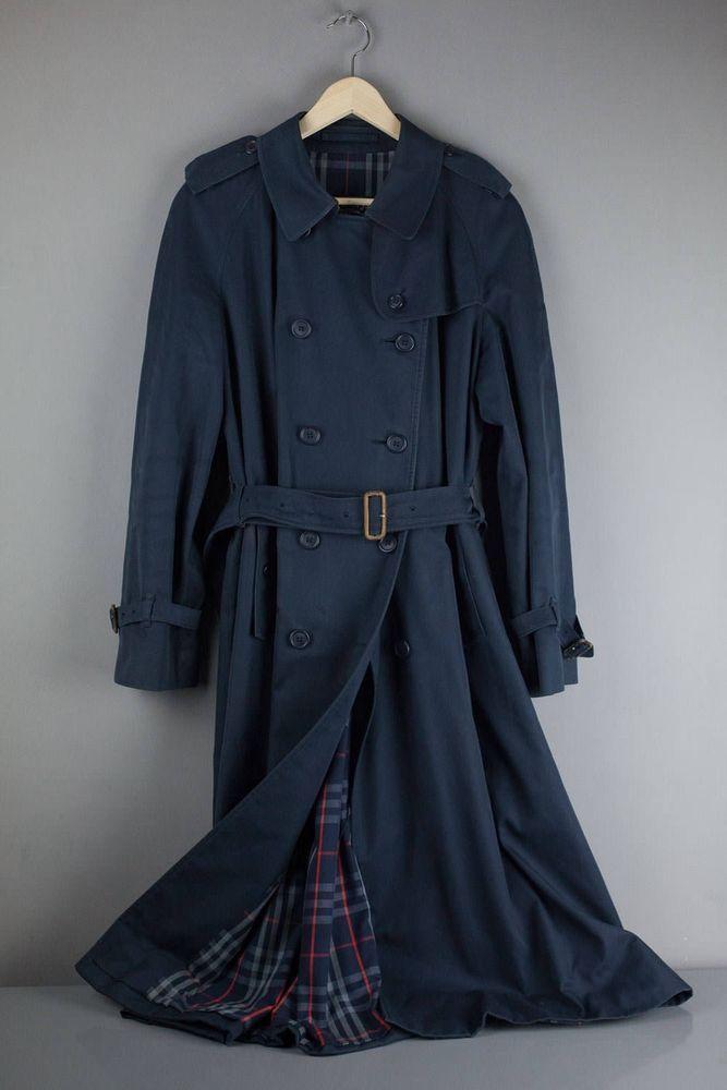 8aa2ec0e36b4e Genuine Vintage Burberry Navy Blue Mac Trench Coat Raincoat Size 8 Womens  Ladies