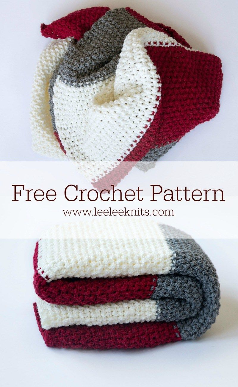 Color Block Throw - Free Crochet Blanket Pattern | Manta, Tejido y ...