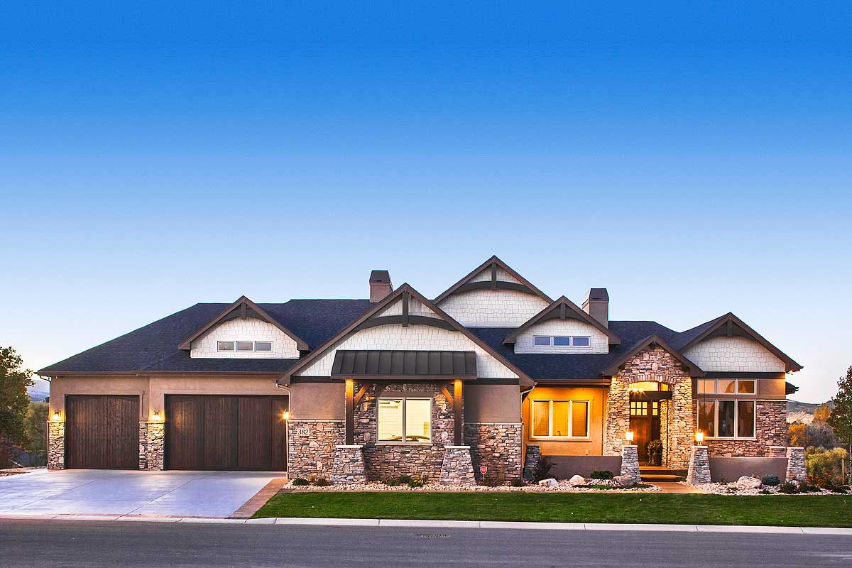 Plan 95026RW: Luxurious Craftsman Home with Car Collector ...