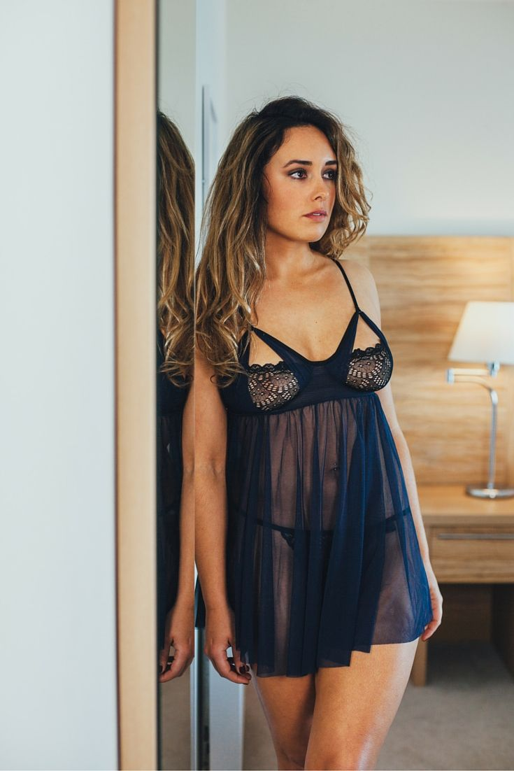 Sexy ethical lingerie made in NYC. Midnight blue and black sheer ...