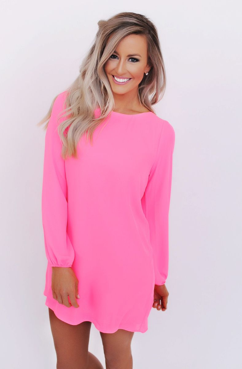 Pink Chiffon Shift Dress