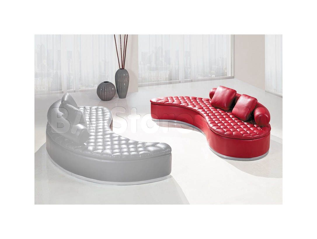 Curved Yin-Yang Red Bonded Leather Sectional Sofa | Curved Sofas ...