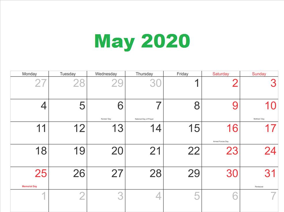 Blank May 2020 Calendar Free printable calendar