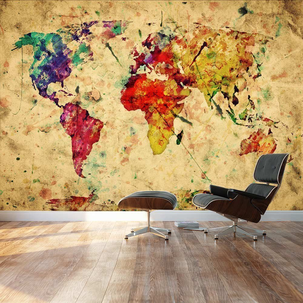 Wall26 - Large Wall Mural - Grunge/Vintage World Map | Self-adhesive ...
