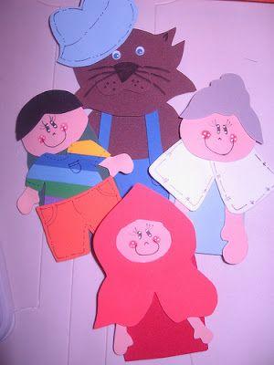 ARTE COM QUIANE - Paps,Moldes,E.V.A,Feltro,Costuras,Fofuchas 3D: Hora do Conto: Moldes Maleta decorada Dedoches Chapeuzinho Vermelho
