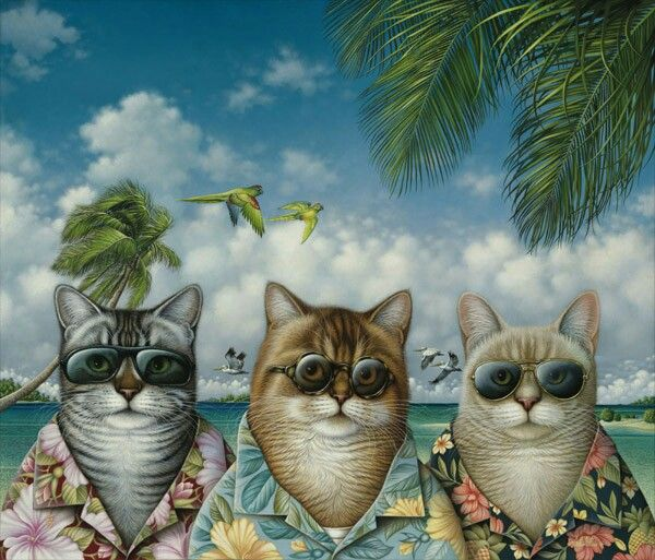 cool cats by: http://braldtbraldsstudio.com/biography.html  - It's a digital representative of three cats on a island. The bright colours gives an summer feel. It almost looks like an retro feel.