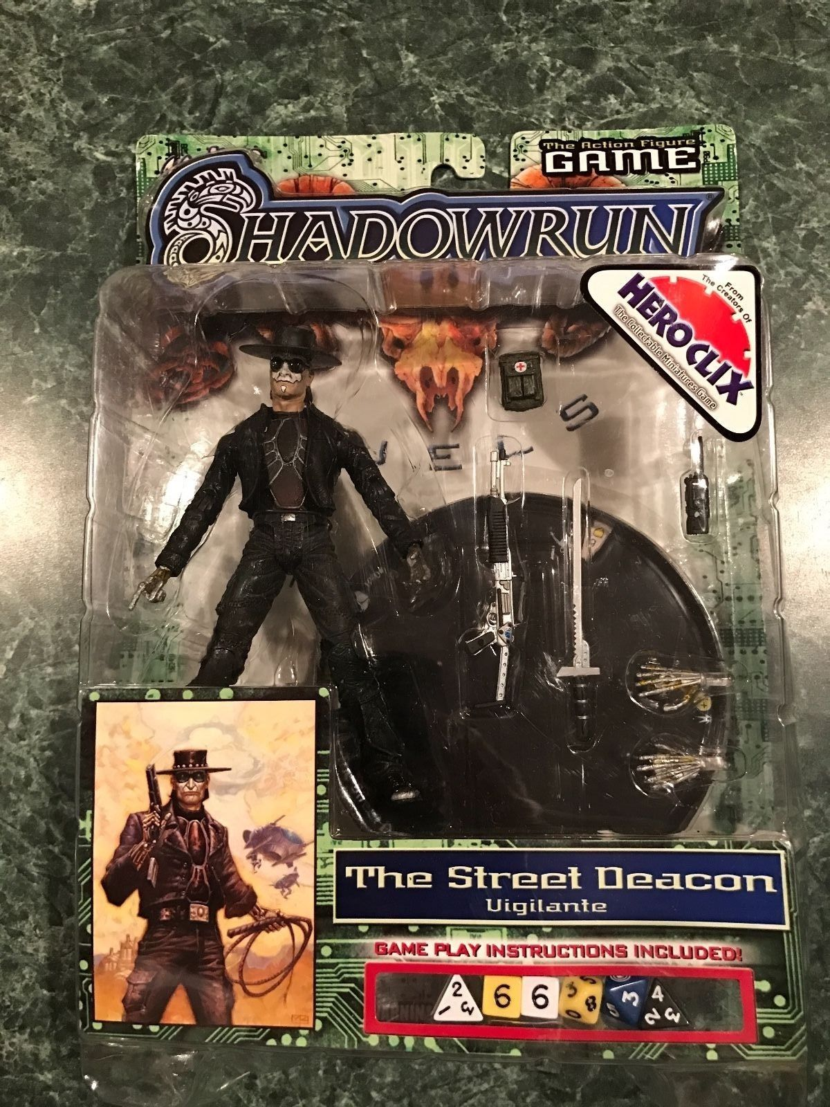 Shadowrun THE STREET DEACON Vigilante Figure Hero Clix Wiz Kids