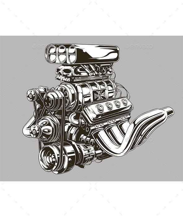 Photo of Detaillierte Hot Road Engine mit Schädel Tattoo #isolated #gear Download: graphicriv …