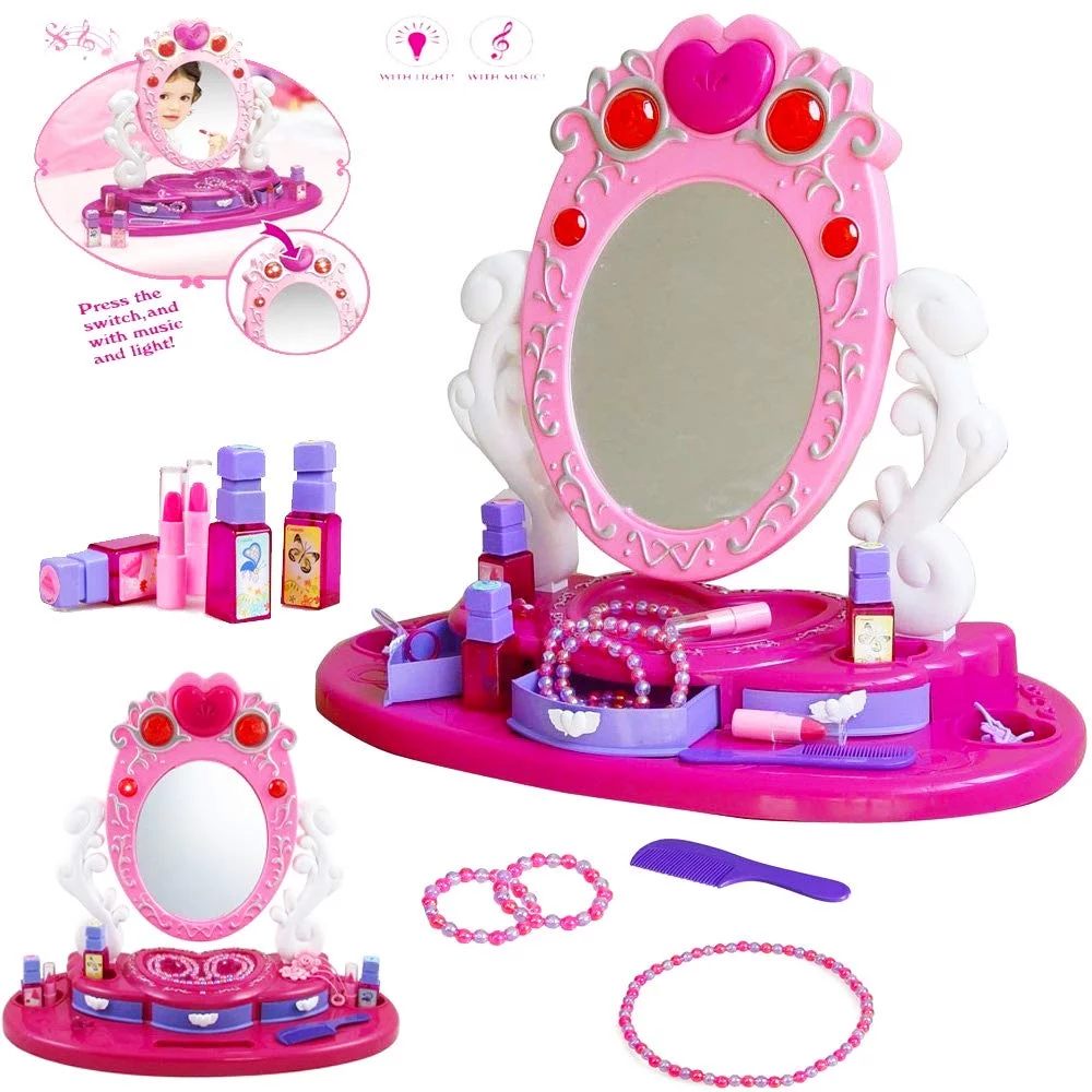 Children Princess Vanity Dressing Table Set In 2020 Kids Glamour Dressing Table Set Playset