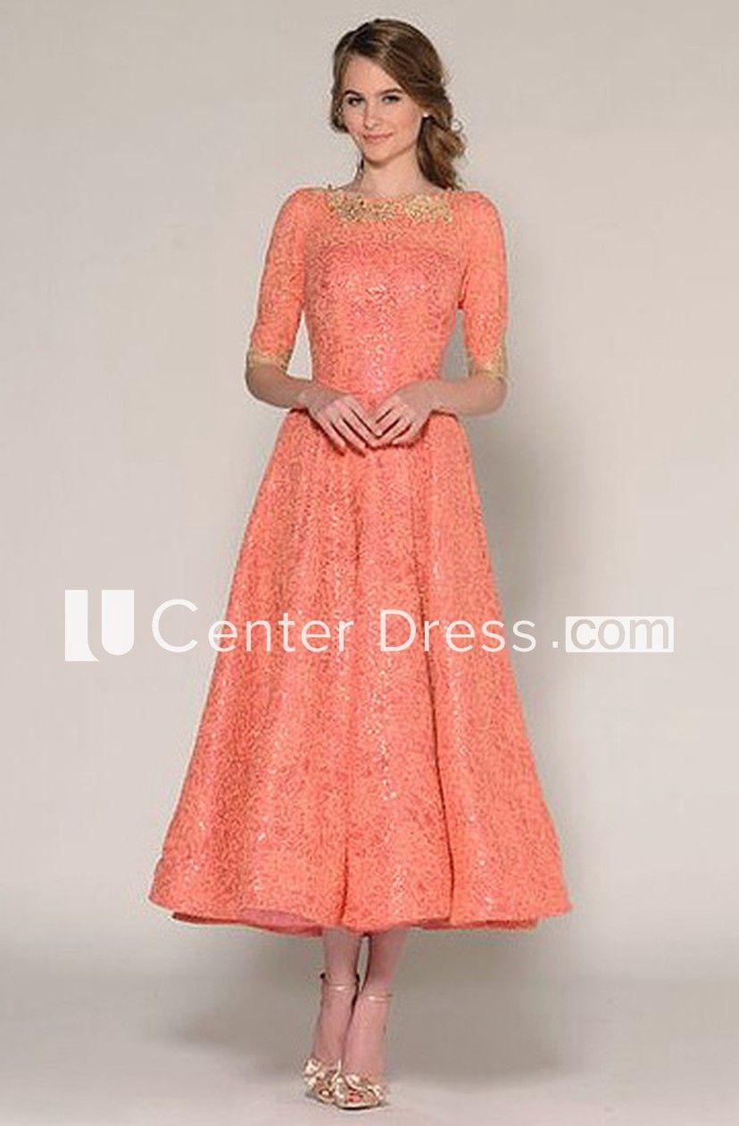 8325ca1096da88 A-Line Tea-Length Half Sleeve Jewel Neck Beaded Lace Prom Dress - UCenter  Dress
