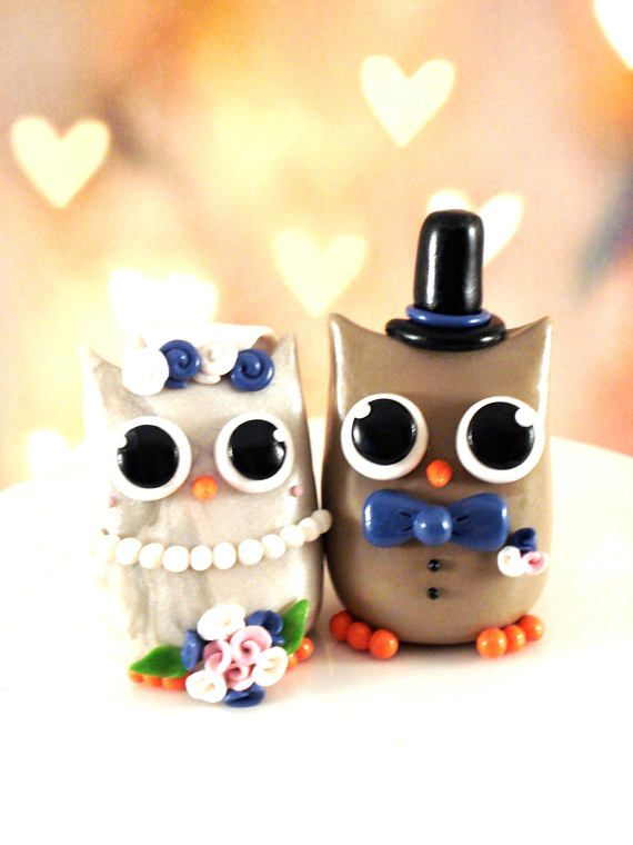 Owl Wedding Cake Topper Bride and Groom Owl Cake Toppers | Owl cake ...