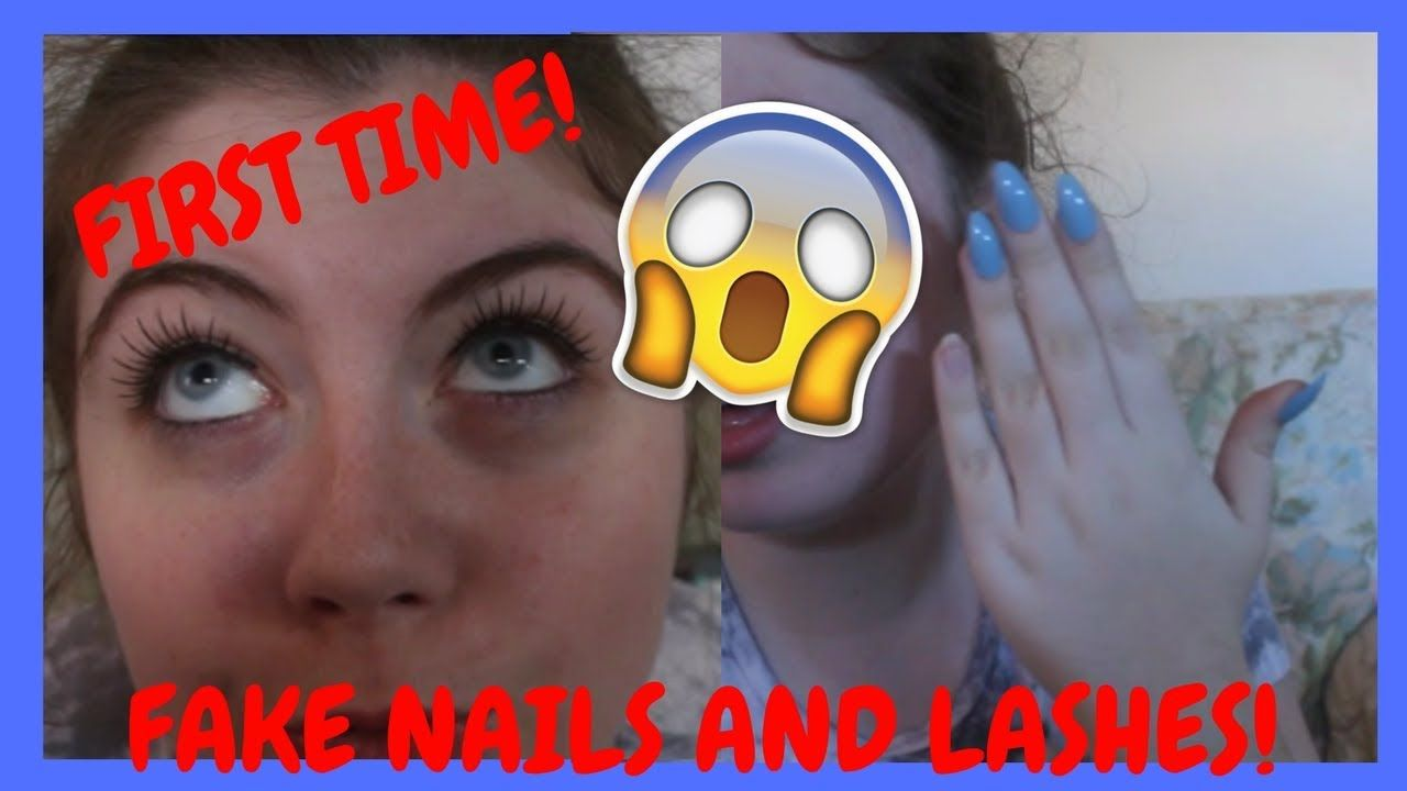 Applying fake nails and eye lashes for the first time