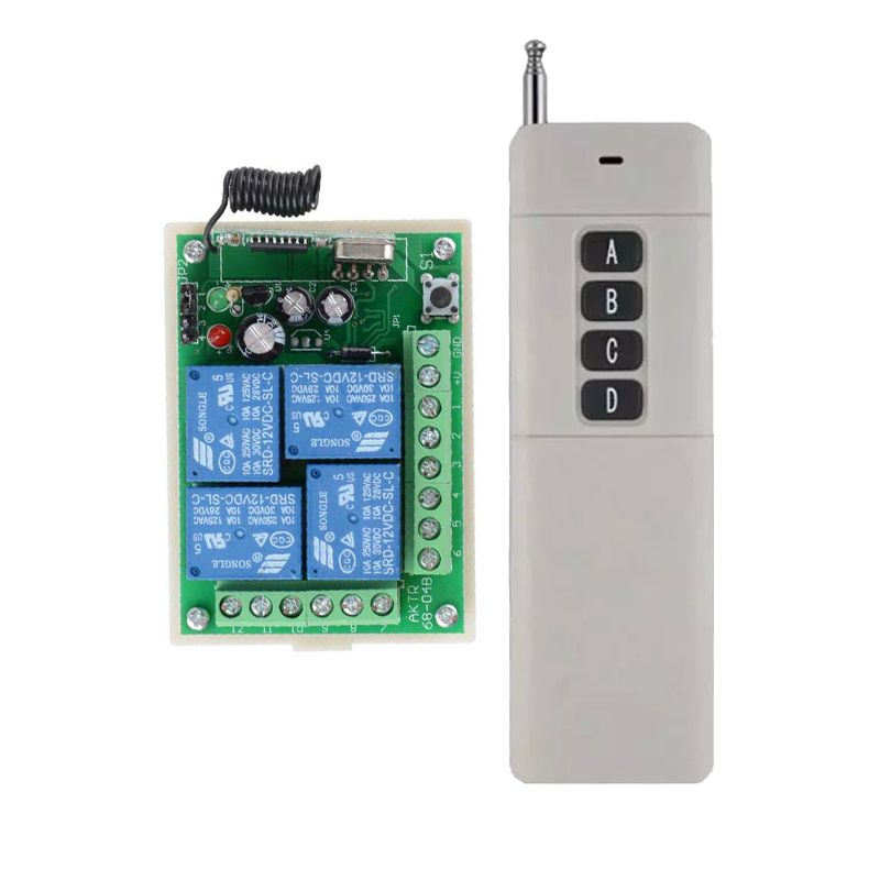 12V 4CH Channel 315Mhz 433Mhz Wireless Remote Control Lighting Switch With  100 1000M Long DistanceTransmitter